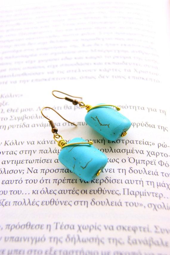 Turquoise kubik earrings by RenatasArt on Etsy, €7.00