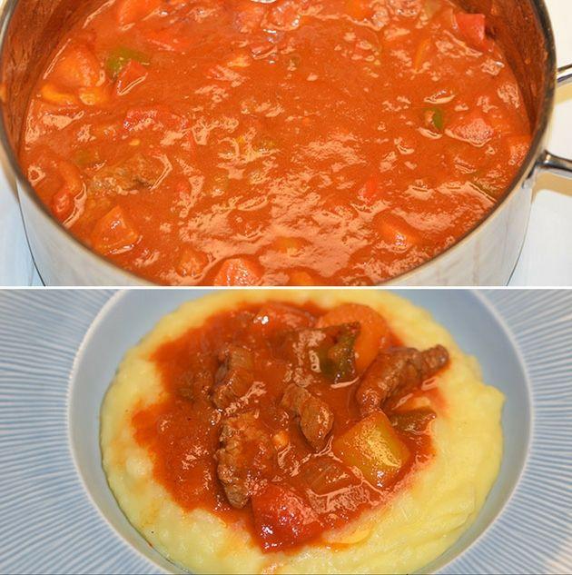 Lækker gullasch, der er proppet med smag fra oksekød, grøntsager og den fænomenale paprikasovs.