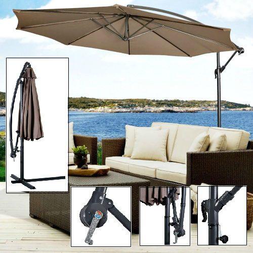 Hanging Garden Umbrella 10' Patio Sun Shade Offset Parasol Waterproof Shelter  #Goplus #GardenUmbrella