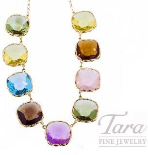 Roberto Coin Multi-stone Necklace in 18K Yellow Gold.  Tara Fine Jewelry Company, Atlanta.