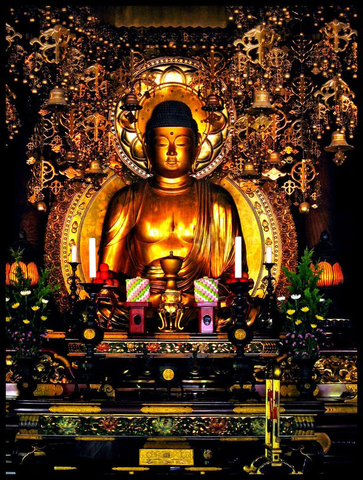 Golden Buddha|A golden Buddha statue in one of the temple buildings are Chionin Temple #Kyoto #Japan