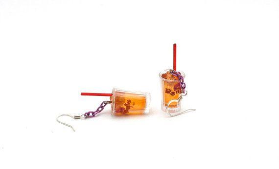 Iced Tea Earrings  Super Realistic Miniature Drink Cups by Pinkkis, $13.00