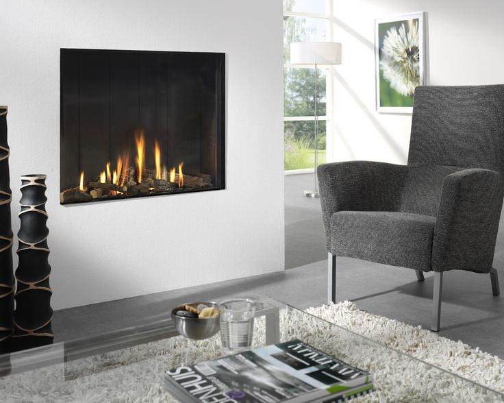 A frameless built in gas fireplace the optica by features a traditional sized opening