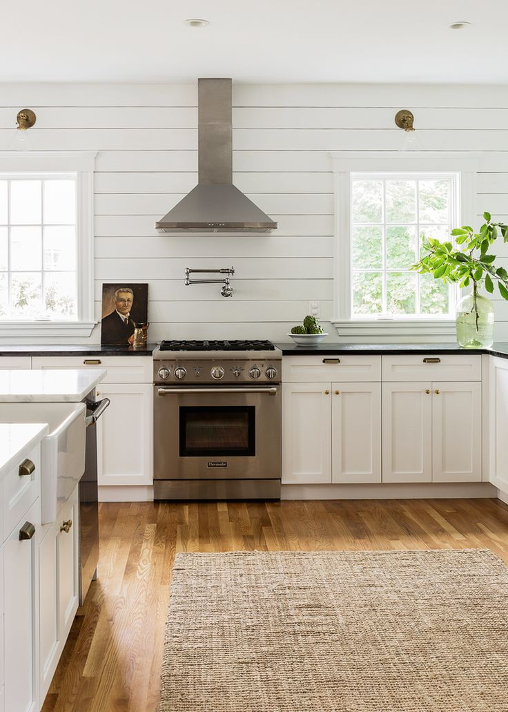 white shiplap kitchen with contrasting countertops modern farmhouse | coco kelley