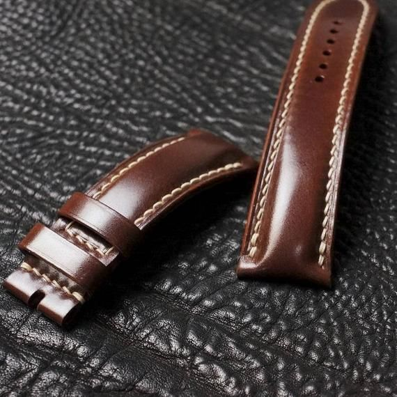 Genuine Leather Watch Bandscrazy Horse Oil Wax Cordovan Image 1