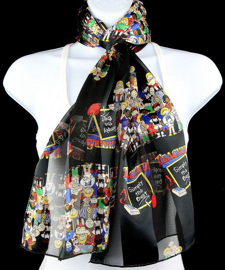 Teachers Simply The Best Womens Scarf School Education Scarfs Gift Black Scarves #TiesJustForYou #Scarf