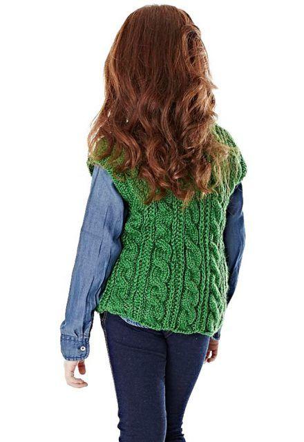 Colete verde Lã Seda • Círculo S A  491daa17965