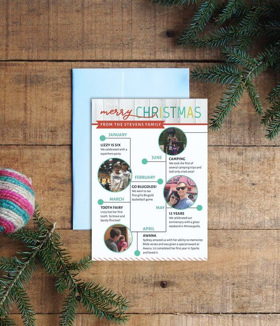 holiday card  christmas card  year in review  timeline