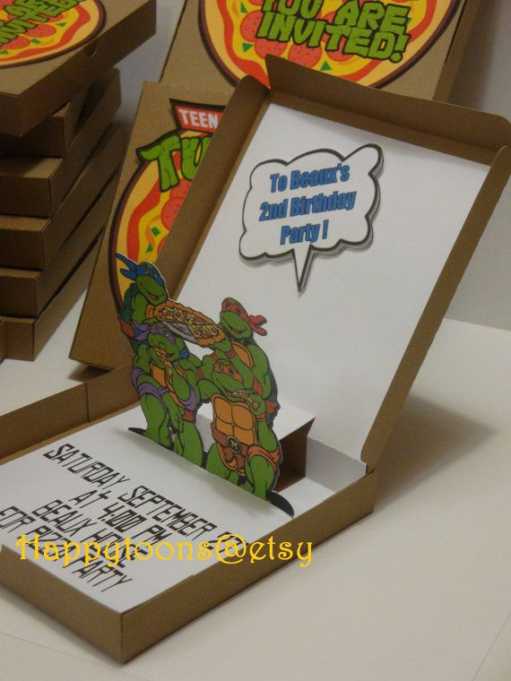 Teenage Mutan Ninja Turtles popup invitations set by HappyToons