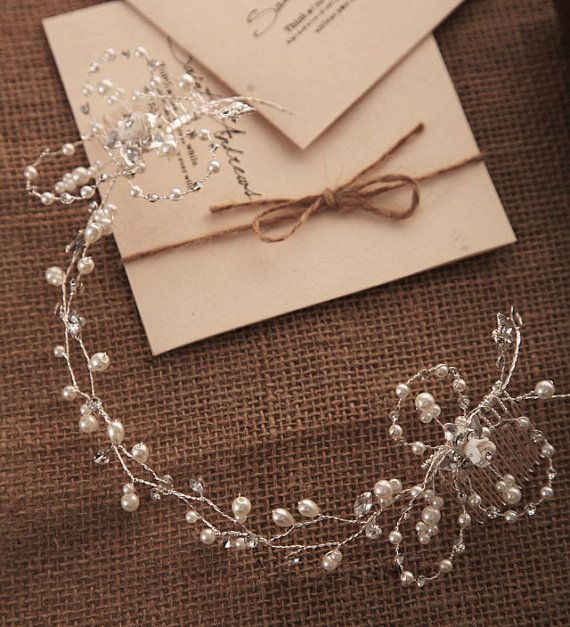 Halo headpiece, Crystal Wedding hairpiece, Hand wired Bridal Wedding flower Wreath Crown, whimsical Headband, Twisted Wire Pearl Tiara on Etsy, $58.00