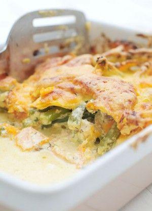 Ovenschotel met zalm en zoete aardappel