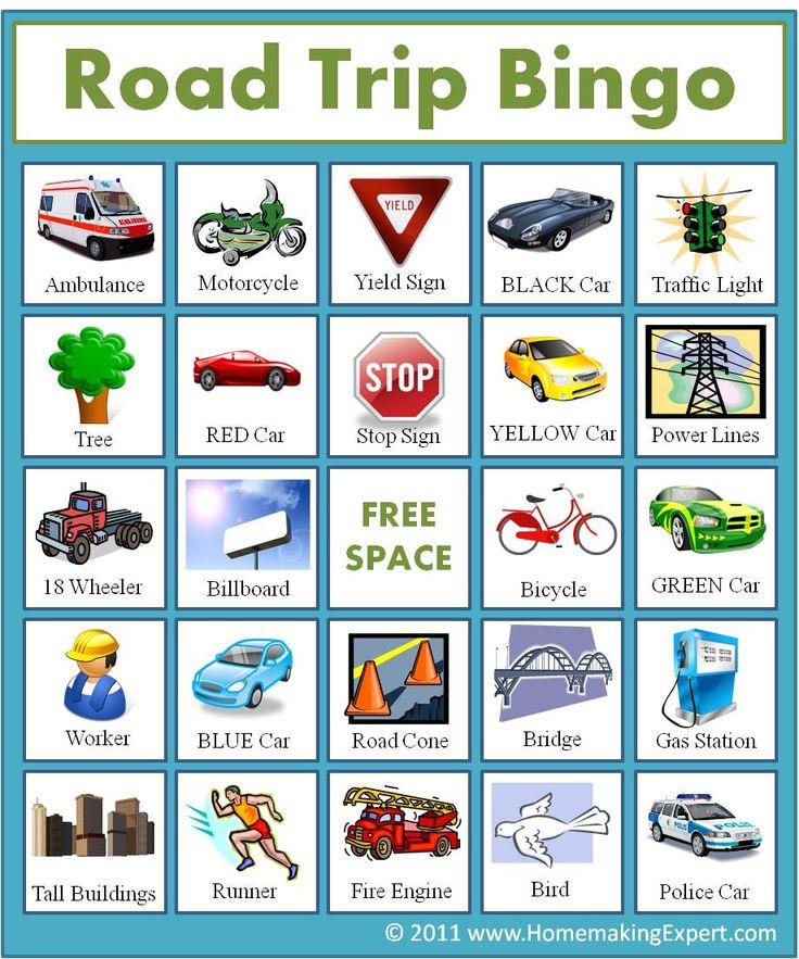 FREE Road Trip Bingo Game For Kids