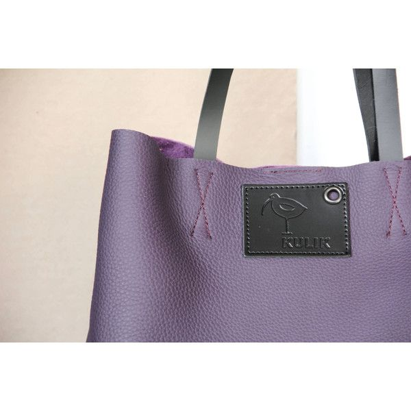 large leather tote bag (535 PLN) found on Polyvore featuring women's fashion, bags, handbags, tote bags, purple tote, leather handbag tote, handbags totes, purple leather tote bag and leather purses
