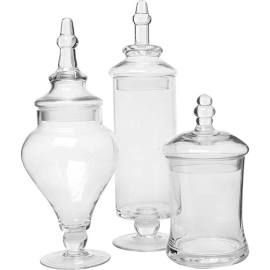 Clear Glass Apothecary Jars, 3 Piece Set, Food Storage Containers ...