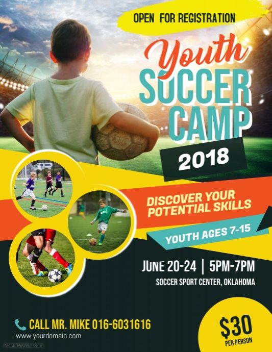 Soccer Camp Flyer Poster Template Sports Flyer Template Sports