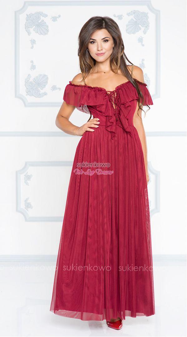 9d3be787f6 Sukienkowo.com - LILLY - Długa tiulowa sukienka hiszpanka wiązana bordowa