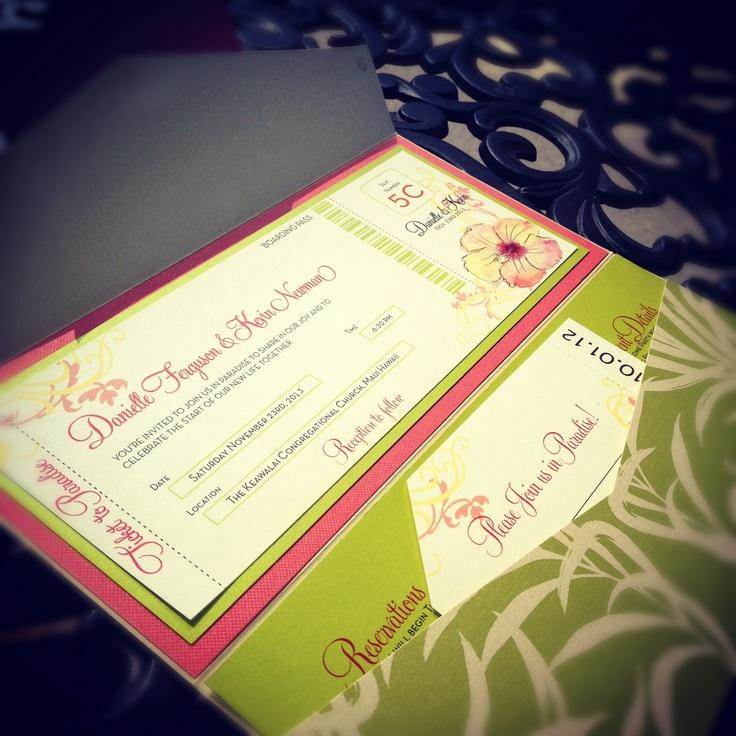 Pink u0026 Green Tropical Boarding Pass Invitation