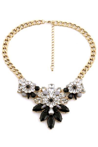 Charm Floral Collar Dangle Bib Necklace