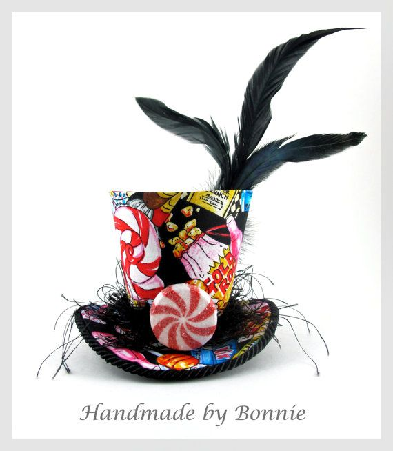 Candy Riot Black Tiny Top Hat Mini Top Hat by BonnieMadeDesigns