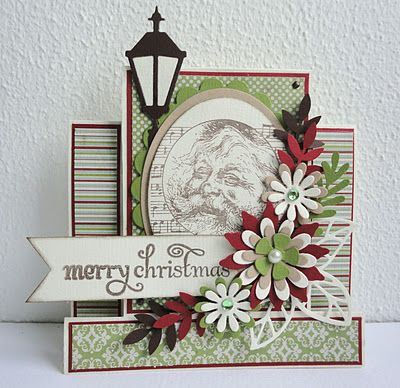 I love this card except I would totally use all Poinsettias or Primroses for the flowers here. Great layout though.