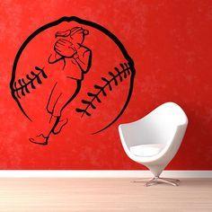 Baseball Softball Pitcher Sticker Vinyl Wall Art