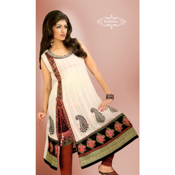 White New Pattern #Kurti With Printed Inner