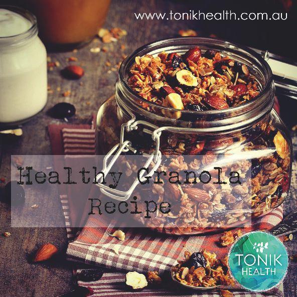 Healthy granola recipe. YUM!  https://www.tonikhealth.com.au/recipes/home-made-granola/  #health #healthy #recipe #granola #homemade #nutrition #breakfast