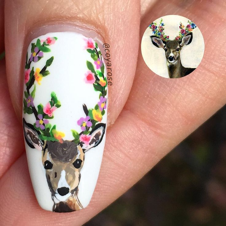 """3,172 Likes, 64 Comments - Nicoya Grobman (@coyarose) on Instagram: """"Spring deer for my thumb I think he turned out gorgeous!! Happy Friday everyone! #springnails…"""""""
