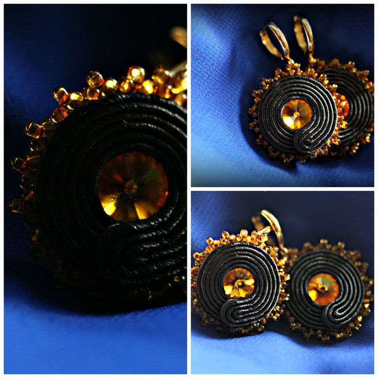 Small black and gold/yellow soutache earrings