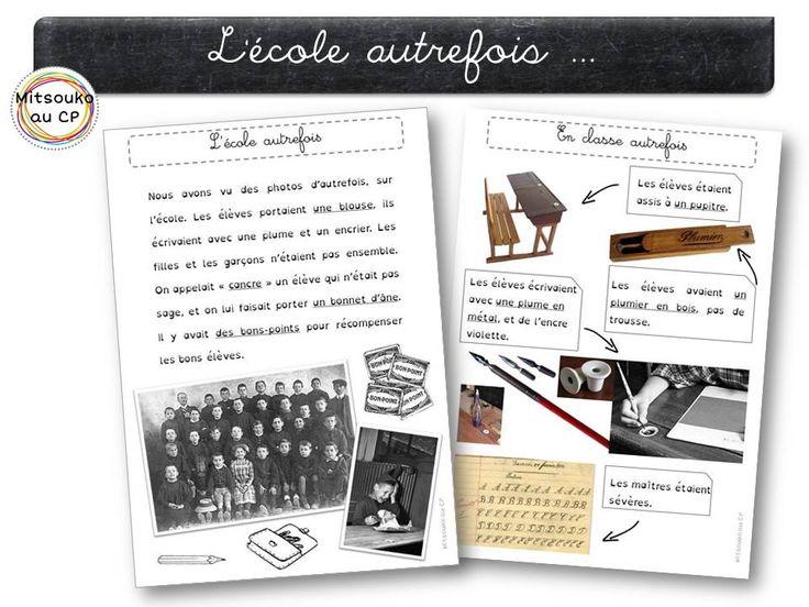 Présentation de l'école autrefois : fiches de trace écrite, diaporama de présentation, fiche d'activité ...