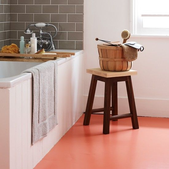 White bathroom with orange vinyl flooring | Modern decorating ideas | Homes & Gardens | Housetohome.co.uk
