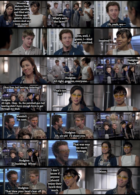 """Hodgins """"blowing up"""" Wendells head in an experiment (this is the episode where Hodgins just found out that Wendell and Angela were dating) haha"""
