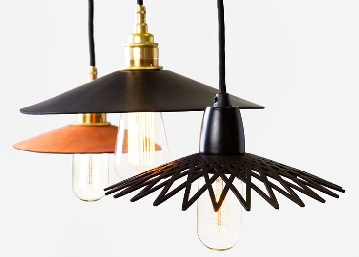 Hide pendant lights by anaesthetic with individually cut leather shades