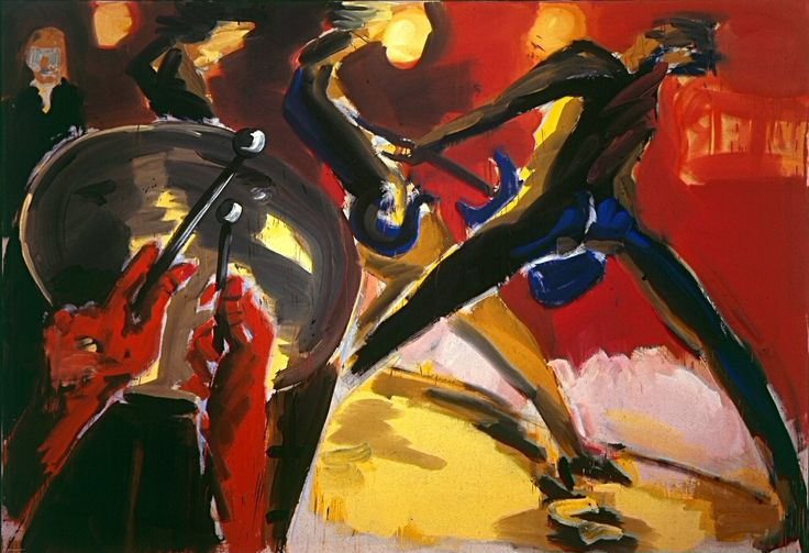 """Drummer und Gitarrist, 1979. Rainer Fetting (b1948)  is a German painter and sculptor. He was one of the co-founders and main protagonists of the Galerie am Moritzplatz in Berlin, founded in the late 1970s by a group of young artists at the former Berlin Art Academy, known as the """"Moritzboys"""" and included Salomé, Zimmer, &Middendorf, who subsequently achieved international acclaim as the """"Junge Wilde"""" or """"Neue Wilde."""" Fetting is one of the internationally best known contemporary German…"""