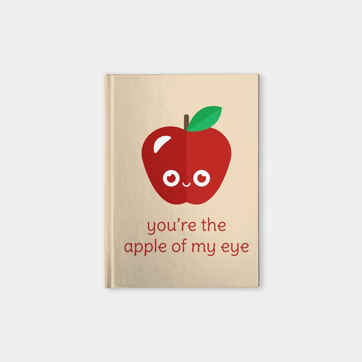 You're the Apple of My Eye hardcover notebook by Slugbunny - pun, puns, apple, apples, fruit, golden delicious, red, macintosh, food, funny, cute, love, relationship, tasteful, tasty, relationships, valentine, valentines, vector, art, illustration, drawing, design