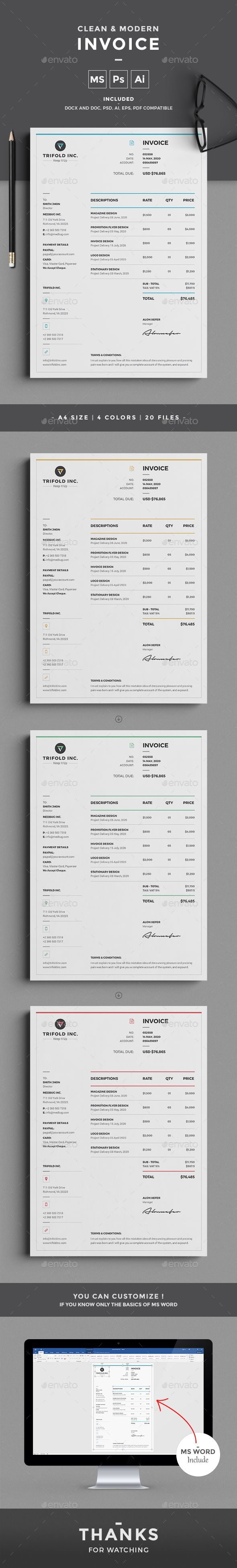 This professional Clean & Modern Invoice template will help you in your business to save time, organize you product data and customers info and easily generate the invoice by inserting the costumers ID and Item. It is designed for personal and corporate use.
