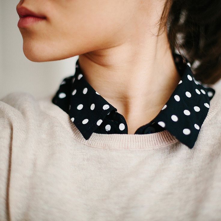 Love the collar poking out of the sweater look. Even cuter with the contrast of the spots!