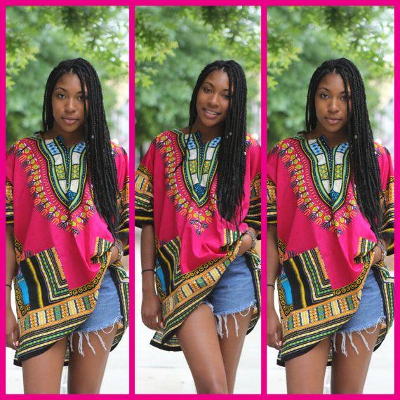 Dashiki Hot Pink African Shirt Tunic Shirt Blouse by tribalgroove