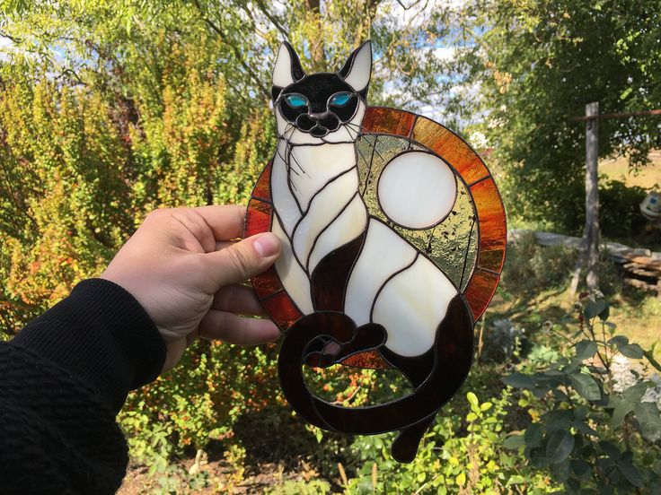my #etsy shop: Siamese Cat Stained Glass / Stained Glass Panel / Stained Glass Suncatcher/ Window Hnaging / Cat Ornament/ Cat Home Decor / Cat Lover Gift / http://etsy.me/2Bp3ibw #black #stainedglass #homedecor