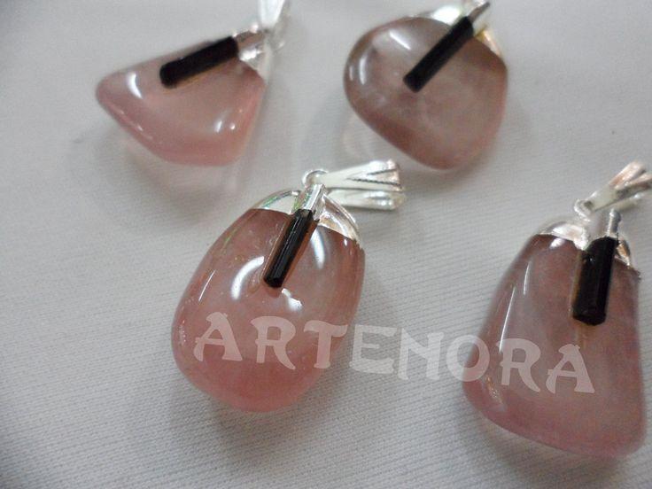 dije cuarzo rosa+turmalina verde piedra reiki artenora