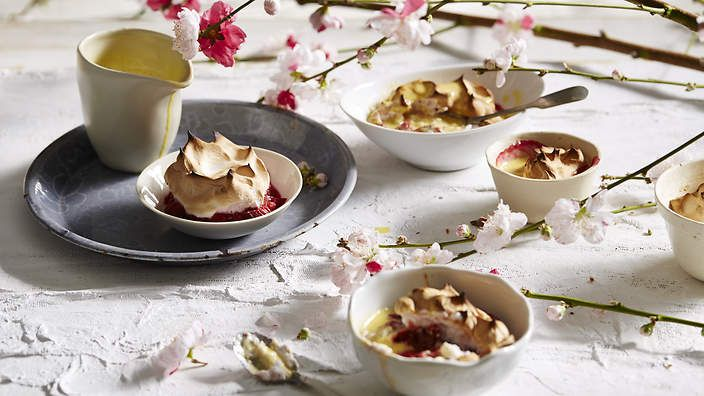 Italian meringue rhubarb soufflé with black pepper custard. Less scary than your standard soufflé, O Tama Carey's version will wow the dinner party set. #TheSeasonalCook