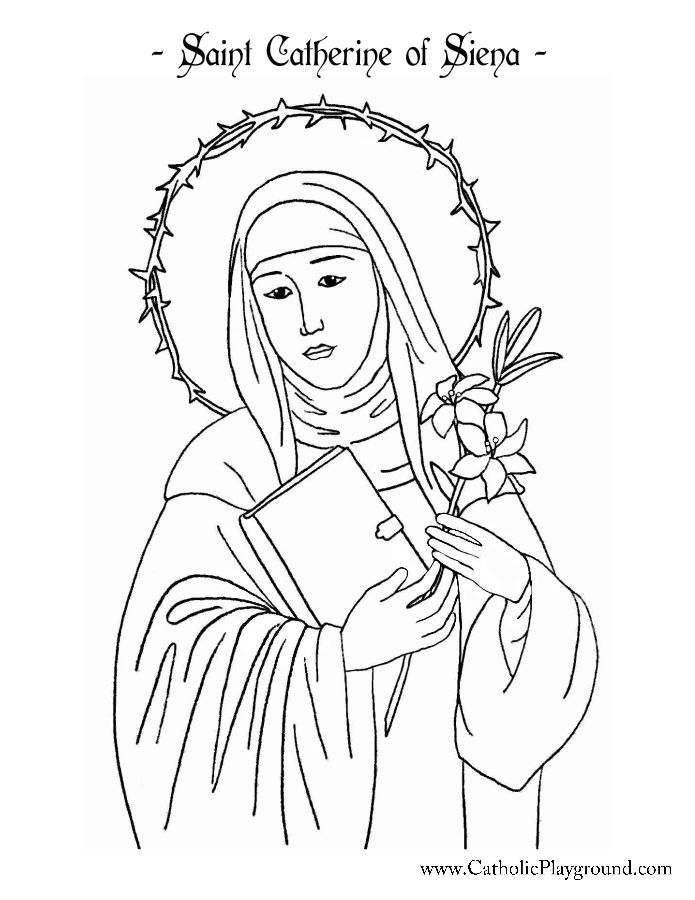 Saint Catherine Of Siena Coloring Page Catholic Playground St