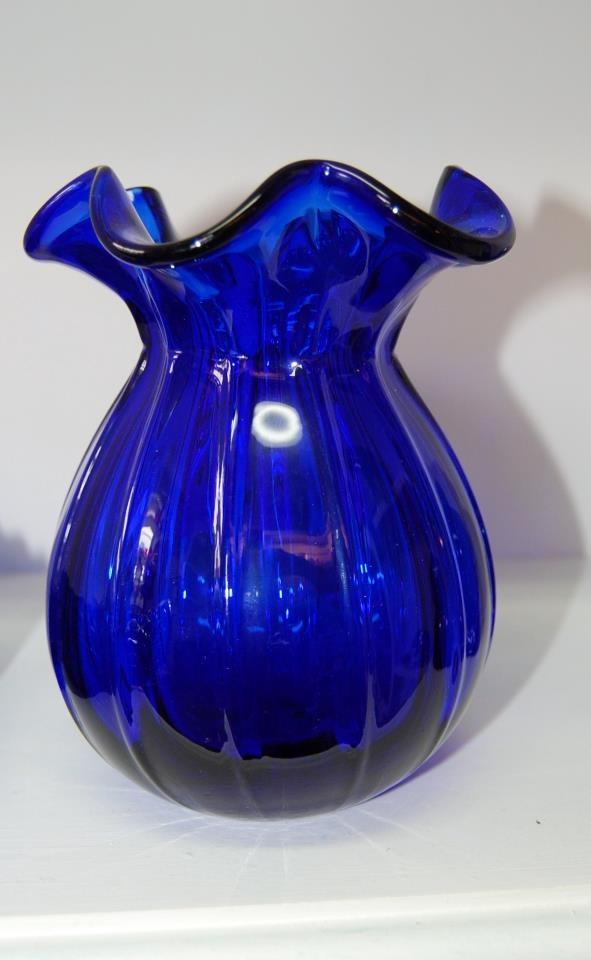 Cobalt Blue Ruffled Vase 1400 Vintage Pottery Porcelain China Glass Blue Cobalt