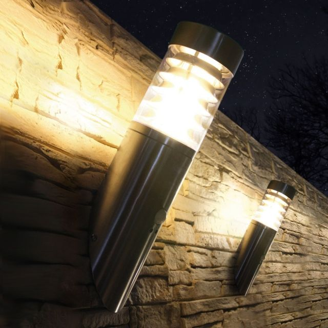 LED Wandleuchte mit Bewegungsmelder / Bewegungssensor, Außenleuchte, Wandlampe, Edelstahl, IP44, E27-230V, (Form:W28)