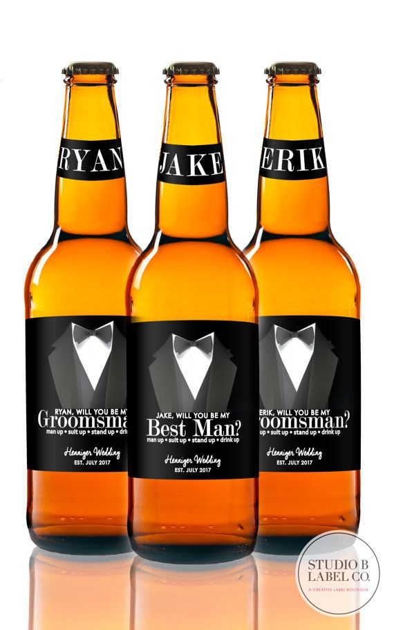 Ask or thank your Groomsmen & Best Man in this unique way – with custom beer labels!  ▬▬▬▬▬▬▬▬▬▬▬▬▬▬▬▬▬▬▬▬▬▬▬▬▬▬▬▬▬▬▬▬▬▬▬▬ TO CUSTOMIZE YOUR LABELS ▬▬▬▬▬▬▬▬▬▬▬▬▬▬▬▬▬▬▬▬▬▬▬▬▬▬▬▬▬▬▬▬▬▬▬▬ At checkout, please include the following in the ADD AN OPTIONAL NOTE TO SELLER:.  1. BEST MAN first NAME(S) 2. GROOMSMEN first NAME(S) 3. Your married LAST NAME 4. Wedding DATE/or season/year if not yet determined (optional) 5* FIRST NAME of Groom (for Groom label if extra labels are leftover)  Select LABEL…