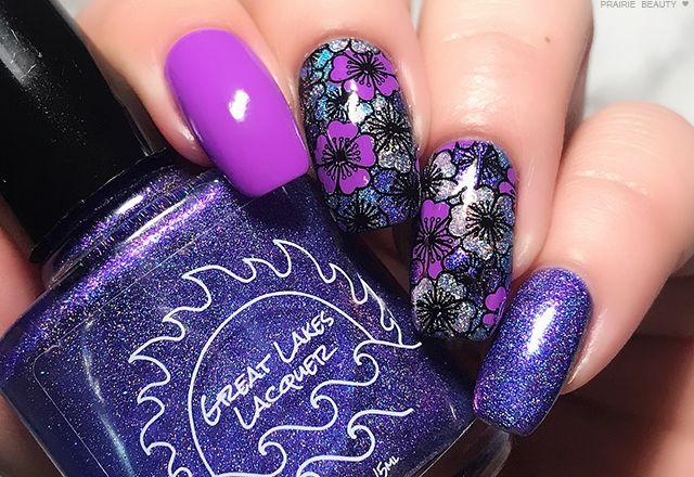MANI MONDAY: Reverse Stamped Purple Floral Nail Art   – Nails