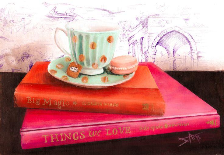 "Original Acrylic Painting ""Big Things"" still life of tea cup and books by artbysalmanasreldin on Etsy"