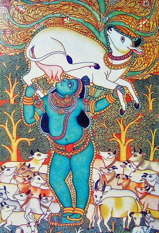 Bal Gopal Drinking Milk from Cow's Udder (Reprint on Paper - Unframed))
