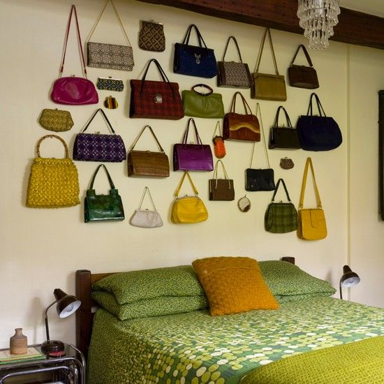If you love handbags! Retro bedroom with feature wall   Traditional decorating ideas   Ideal Home   Housetohome