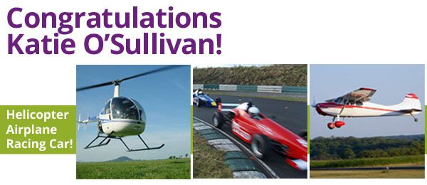 Congratulations Katie O'Sullivan who won the Ultimate Adrenaline Day! We're so glad you love the prize and will chat to you again later  #allgifts2014